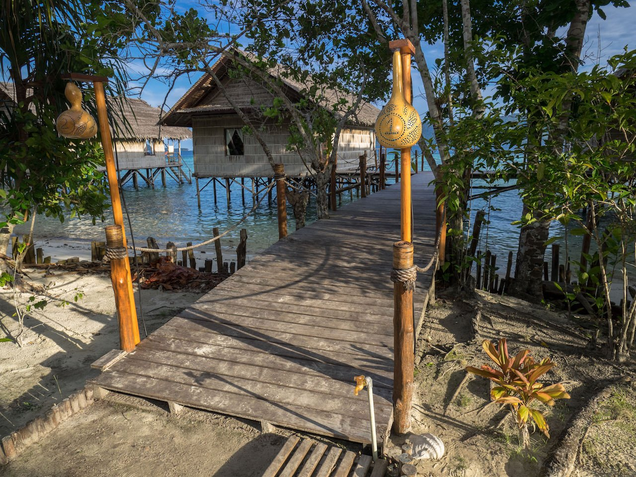 jetty entrance to individual bungalows