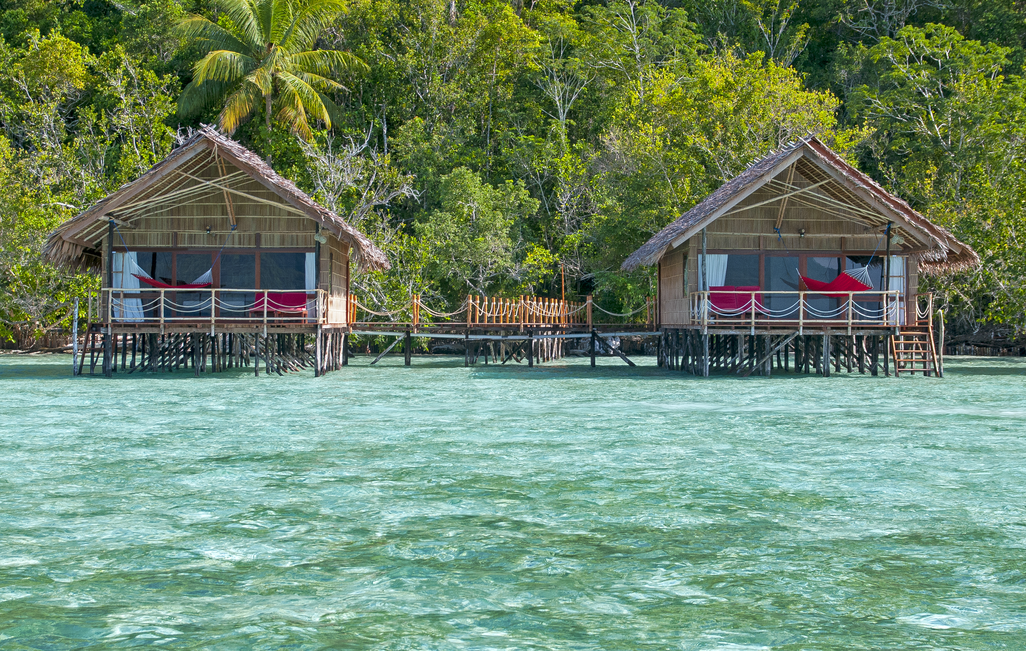 deluxe water bungalows seen from the front