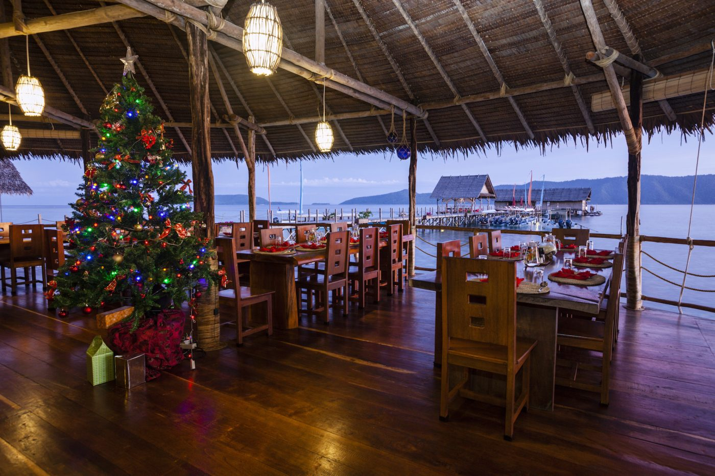 Christmas tree at our restaurant in Raja Ampat