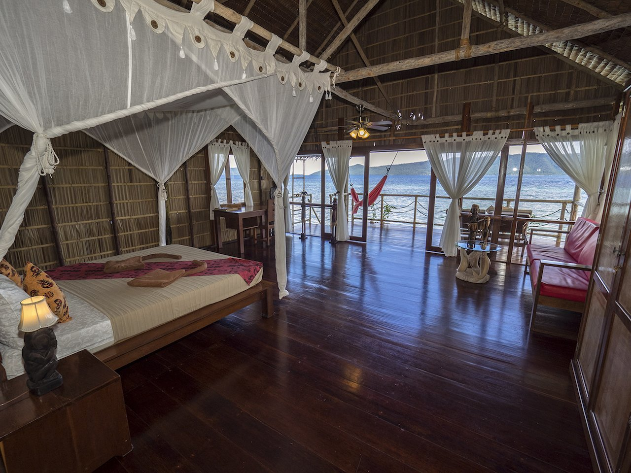 interior of one of our raja ampat overwater bungalows