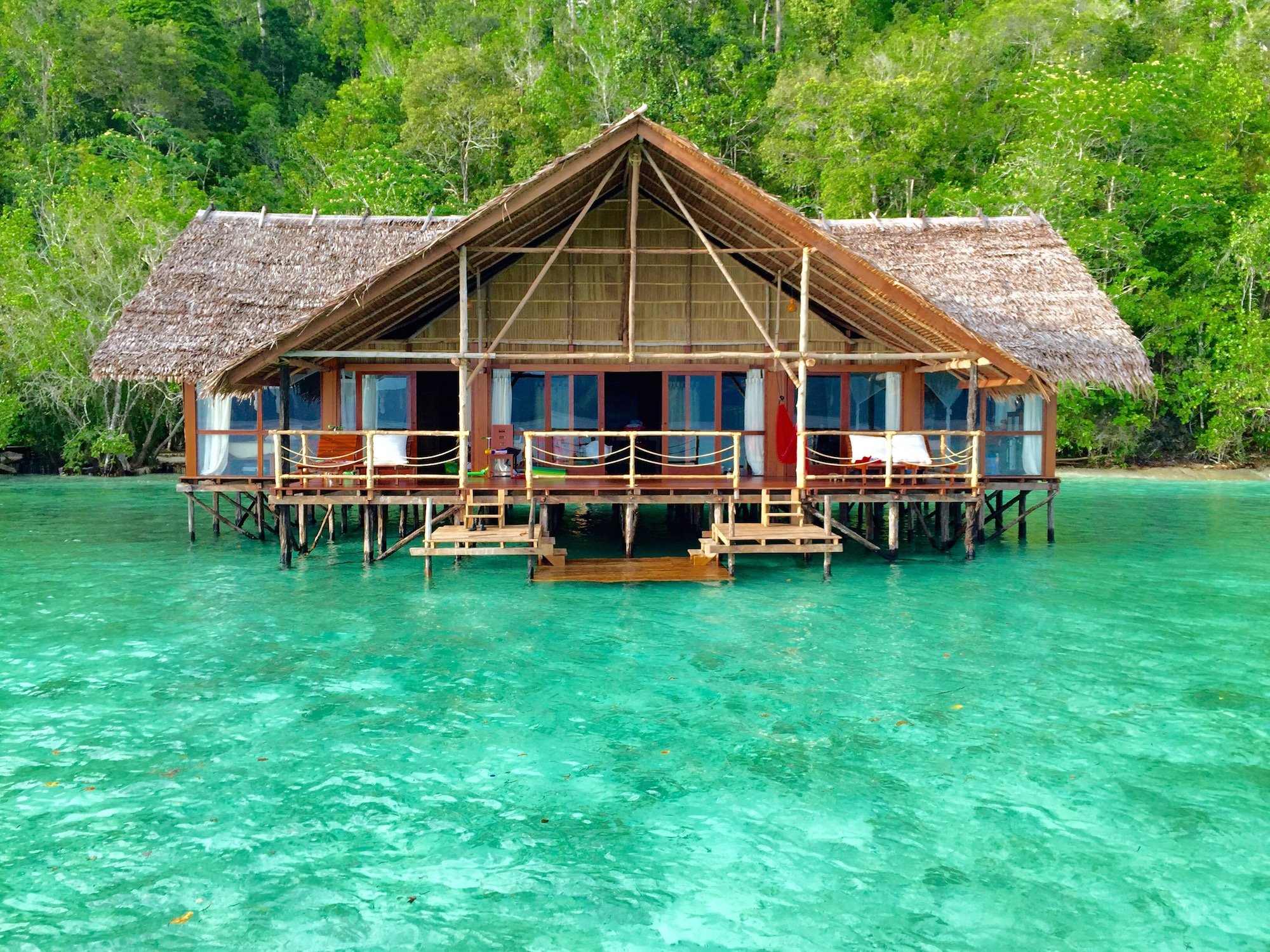 water bungalows at the heart of raja ampat papua explorers resort. Black Bedroom Furniture Sets. Home Design Ideas