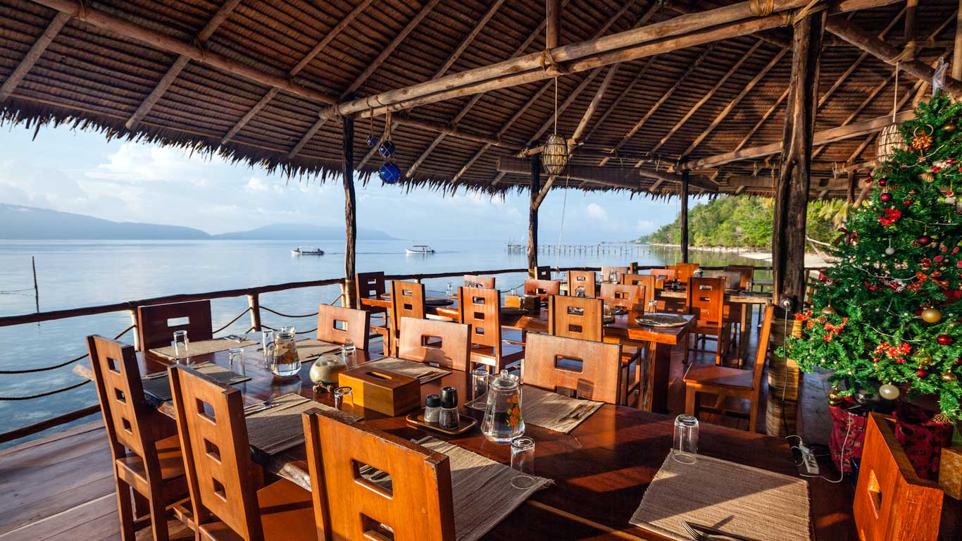 View at our restaurant during day time - Papua Explorers Resort