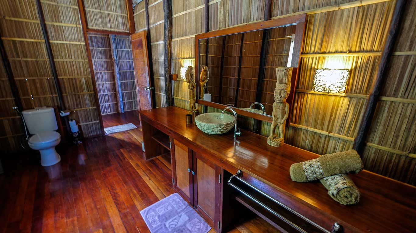 bathroom interior inside one of our raja ampat overwater bungalows
