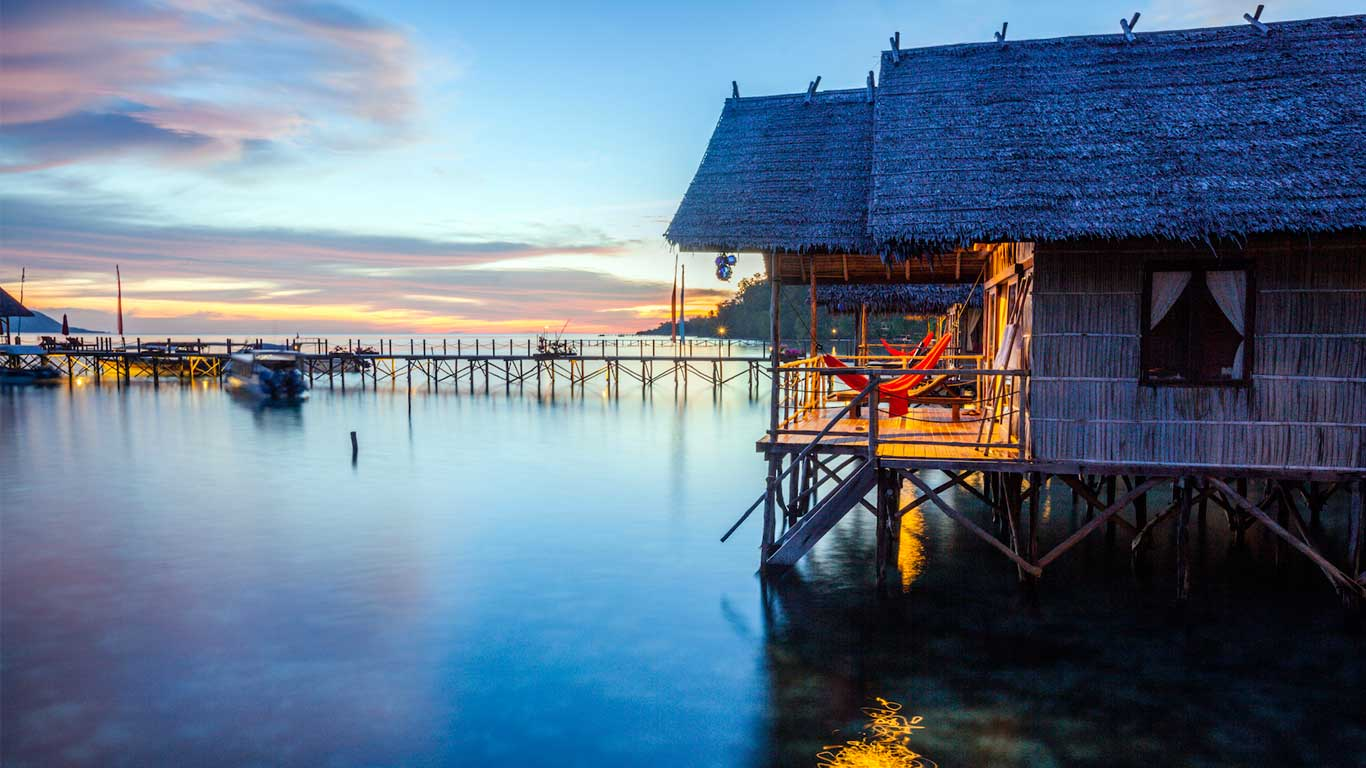 water bungalows from the side