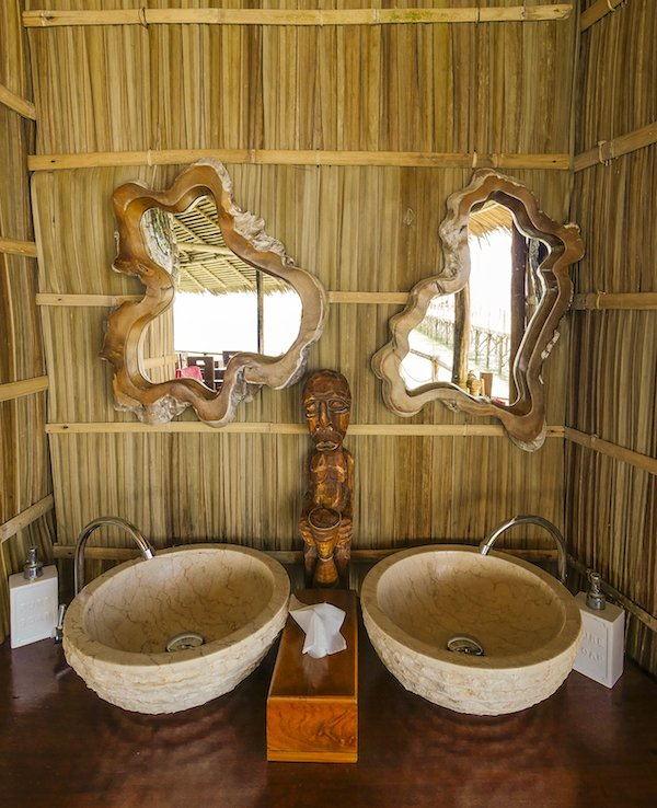 handwash facilties in our over water restaurant in Raja Ampat