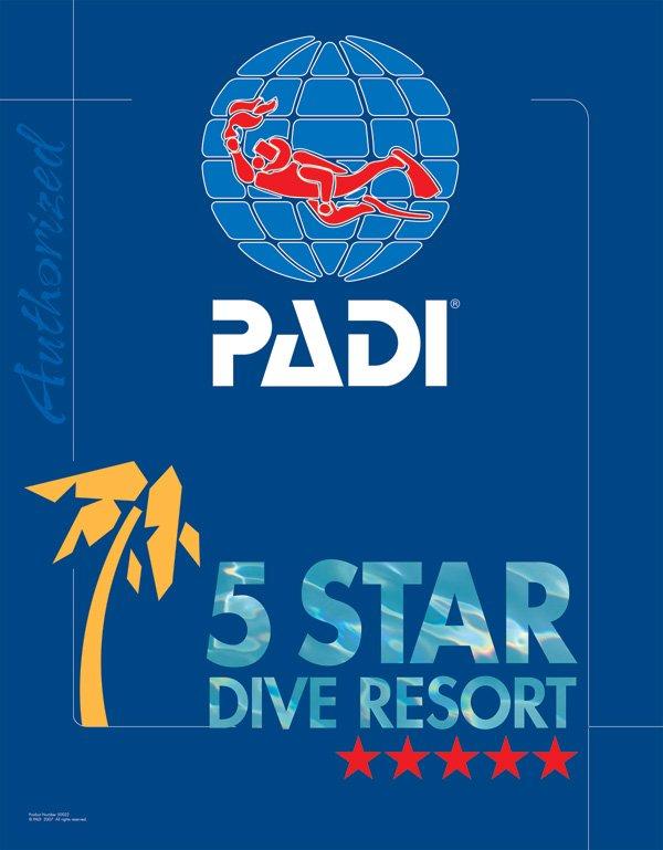 PADI five star dive resort logo