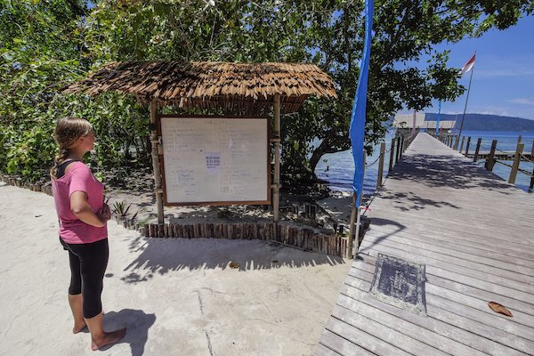woman looking at the boat planning board at the jetty of our resort in Raja Ampat