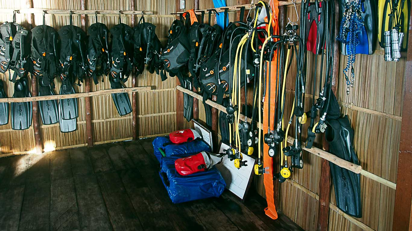 sets of rental dive gear in our dive centre office