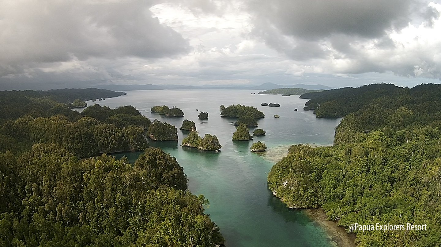kabui bay between gam and waigeo island in raja ampat