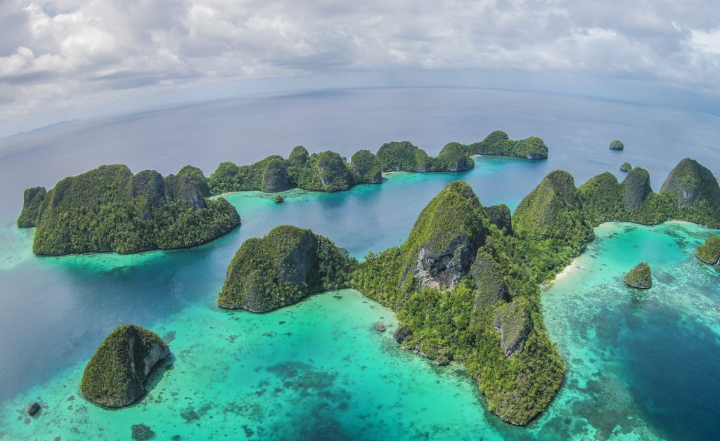 island panorama of the wayag islands in raja ampat