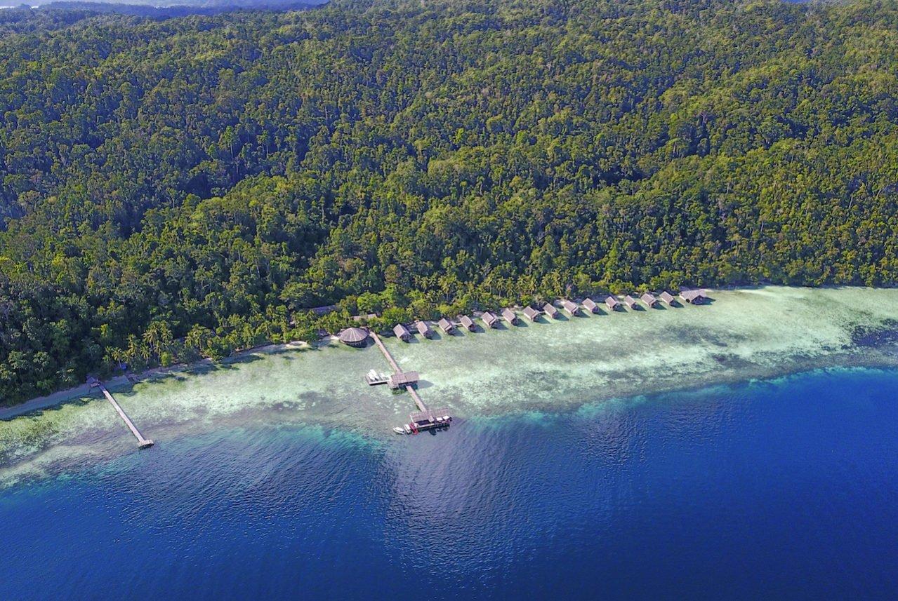 Aerial view of Papua Explorers resort in Raja Ampat on the island Gam