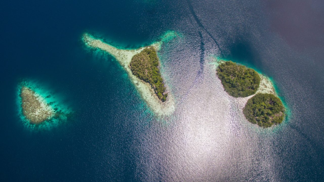 A group of islands in Raja Ampat from above