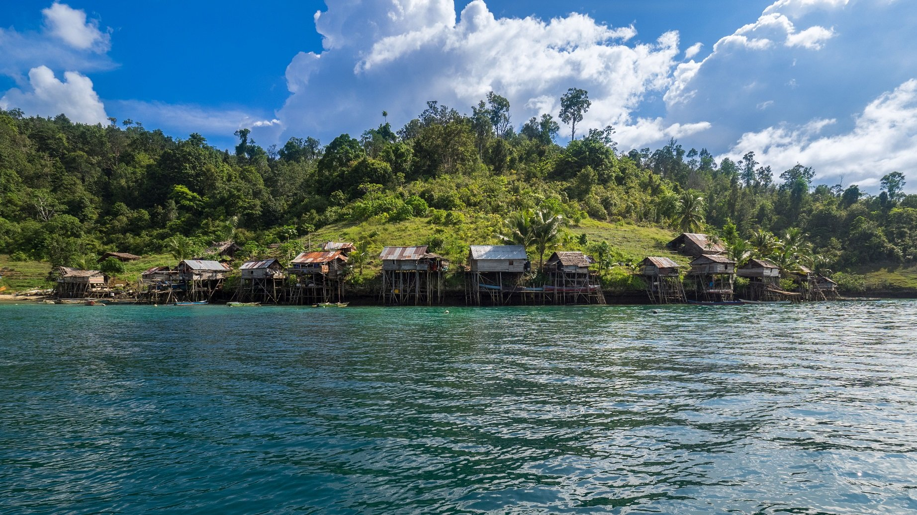 group of wooden houses of a local village built against the rocky shore cliff with rainforest in the background on a trip with Papua Explorers