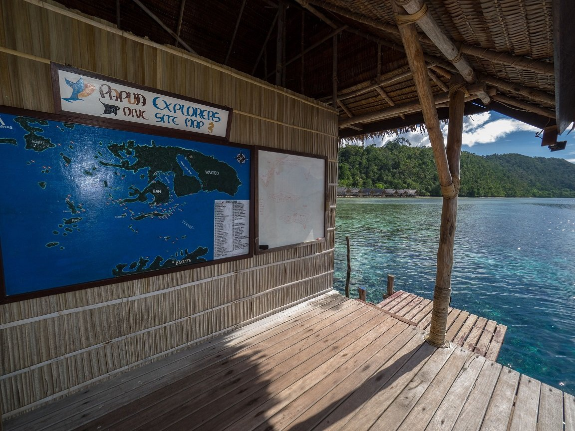 at our dive center in Raja Ampat we have a large picture of the area featuring all the dive spots of the Dampier Straight and more