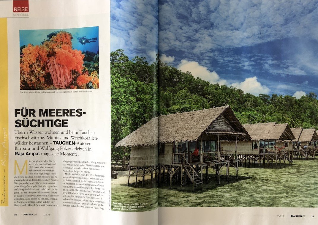 page of Papua Explorers article in German dive magazine
