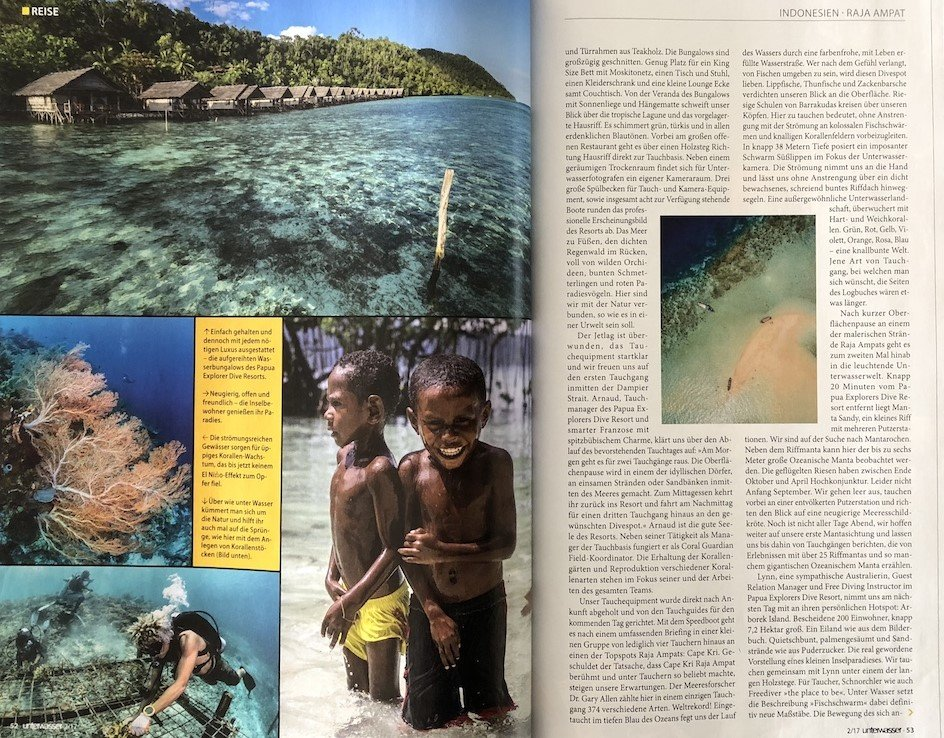 second page of Papua Explorers article in German dive magazine