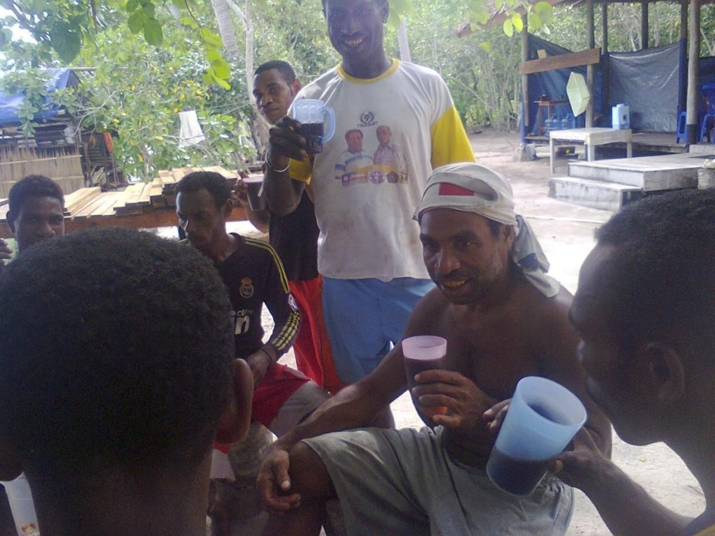 Coffee time during construction of Papua Explorers in Raja Ampat