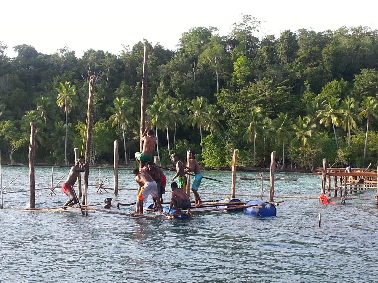 Planting of Dive Centre Poles in the Ocean