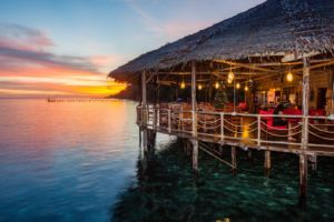 Our Raja Ampat restaurant during sunset time