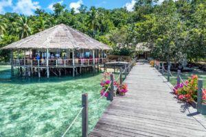 Papua Explorers Raja Ampat restaurant and jetty