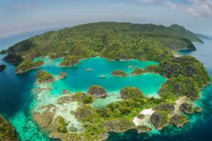 island panorama at penemu viewpoint on the fam islands in indonesia