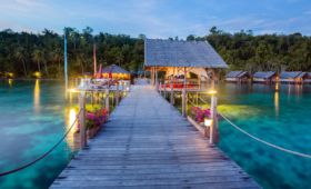the main jetty of Papua Explorers Resort in Raja Ampat