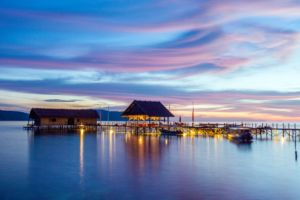 dive centre and main jetty of Papua Explorers Resort during sunset