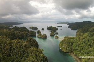 kabui bay between gam and waigeo island in raja ampat