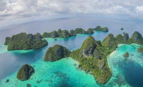 island panorama of the wayag islands in raja ampat