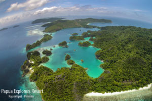 (English) the Fam or Penemu islands from above grown over by lush rainforest on a day trip with Papua Explorers Dive Resort