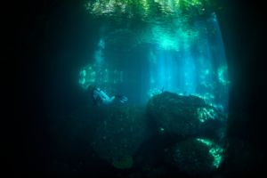 an underwater cave in the wall of the passage in raja ampat