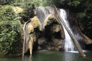 the small waterfall that can be reached only after a short hike