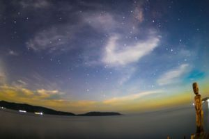 star-filled firmament above our dive center in Raja Ampat