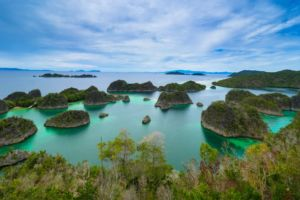 A group of islands at the viewpoint at Fam Penemu on an excursion with Papua Explorers Dive Resort