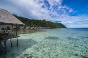 photo taken from our main jetty towards our massage area and our water cottages in Raja Ampat style