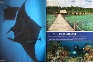 first page of Papua Explorers article in German dive magazine