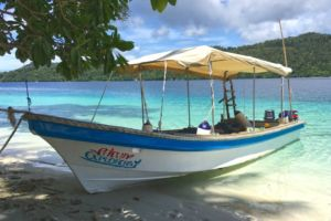diving boat on a tropical beach in Raja Ampat