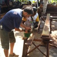 Wood preparation during the construction of Papua Explorers Eco Resort